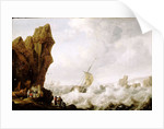 A fishing boat in rough sea off a rocky shore by Julius Porcellis