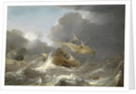 Dutch ships in a gale by Jan Porcellis
