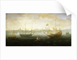 A Dutch and English ship off a harbour by Abraham de Verwer