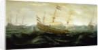 Dutch ships in a rough sea by Abraham de Verwer