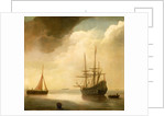 A ship in a calm sea by Abraham de Verwer