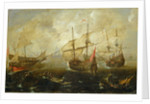 Action between English and Spanish ships by Andries van Eertvelt