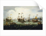 The return of the Dutch East India Fleet, 1 May 1599, the 'Hollandia', 'Mauritius', 'Amsterdam' and 'Duykfen' in harbour by Andries van Eertvelt