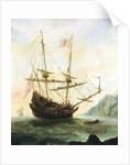 The 'Santa Maria' at anchor by Andries van Eertvelt