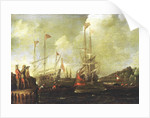 Harbour scene: Spanish ships approaching a jetty by Sebastian Castro