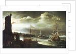 A Dutch ship at anchor off Genoa by Andries van Eertvelt