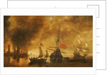 Daybreak after the bombardment of a port by Spanish ships by Andries van Eertvelt