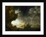 Seascape with sailors sheltering from a rainstorm by Bonaventura Peeters the Elder