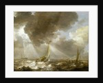 Dutch fishing boats in a fresh breeze by Bonaventura Peeters the Elder