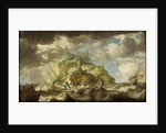 A dismasted ship in a rough sea by Bonaventura Peeters the Elder