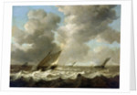 Fishing boats in a rough sea by Simon de Vlieger