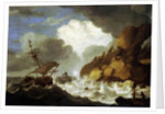 A Dutch ship foundering off a rocky coast by Hendrick Staets