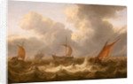 Fishing boats in a choppy sea by Cornelisz Leonardsz Stooter