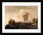 A ferry boat on a calm sea by Pieter de Bloot