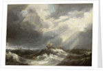 Sunlight on a stormy sea by Bonaventura Peeters the Elder
