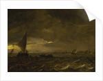 Fishing boats in an estuary at dusk by Jan van Goyen