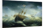 English ships in a rough sea by Claes Wou