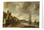 Dutch ships in a Mediterranean harbour by Johannes Beerstraaten
