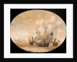 A Dutch ship engaged with two Spanish ships by Pieter Cornelisz van Soest