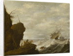 A Dutch ship in a breeze off a rocky coast by Pieter Mulier