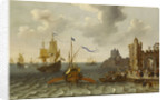 A French galley and Dutch men-of-war off a port by Abraham Willaerts