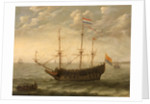 A Zeeland ship at anchor by Abraham Willaerts