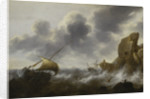 A fishing boat off a rocky coast in a storm with a wreck by Jacob Adriaensz Bellevois