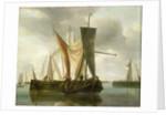 Dutch fishing boats becalmed near a jetty by Hendrik-Jacobsz Dubbels
