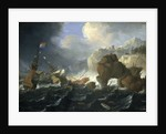 Ships and a galley wrecked on a rocky coast by Jan Peeters