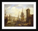 Dock scene at a British port by Jacob Knyff