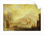 Ships at anchor off a mediterranean harbour by Pieter van den Velde