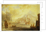 Ships at anchor off a mediterranean harbour by Pieter van den Velde