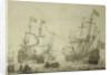 Two Dutch merchant ships under sail near the shore in a moderate breeze by Willem van de Velde the Elder