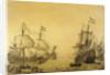 The Dutch ship 'Oosterwijk' under sail near the shore, in two positions by Willem van de Velde the Elder