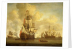 Calm: an English two-decker with sails loosed firing a salute by Willem van de Velde the Elder