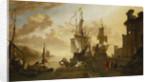 Shipping at Leghorn by Hendrik van Minderhout
