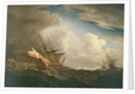 English ships at sea beating to windward in a gale by Willem Van de Velde the Younger