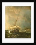 An English ship in a gale trying to claw off a lee shore by Willem Van de Velde the Younger