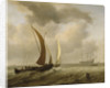 Two kaags at sea before a fresh breeze by Willem Van de Velde the Younger