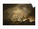 Two English ships wrecked in a storm on a rocky coast by Willem Van de Velde the Younger