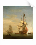 Calm: an English sixth-rate firing a salute by Willem Van de Velde the Younger