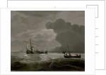A kaag and a weyschuit running before a strong breeze by Willem Van de Velde the Younger