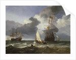 A smalschip with two Dutch East Indiamen coming to anchor by Hendrik-Jacobsz Dubbels