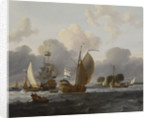A Dutch yacht before the wind in a harbour by unknown