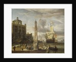 A Venetian pilgrim ship in an Italian port by Abraham Storck