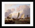 Ships passing a windmill by Abraham Storck