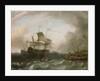 Dutch men-of-war off a jetty by Jan Claesz Rietschoof