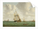 A Dutch whaler close-hauled in a breeze by Jan Claesz Rietschoof