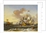 A Dutch flagship and other vessels off a rocky coast by Hendrik Rietschoof