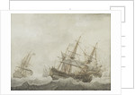 English men-of-war in a strong breeze by Cornelis Bouwmeester